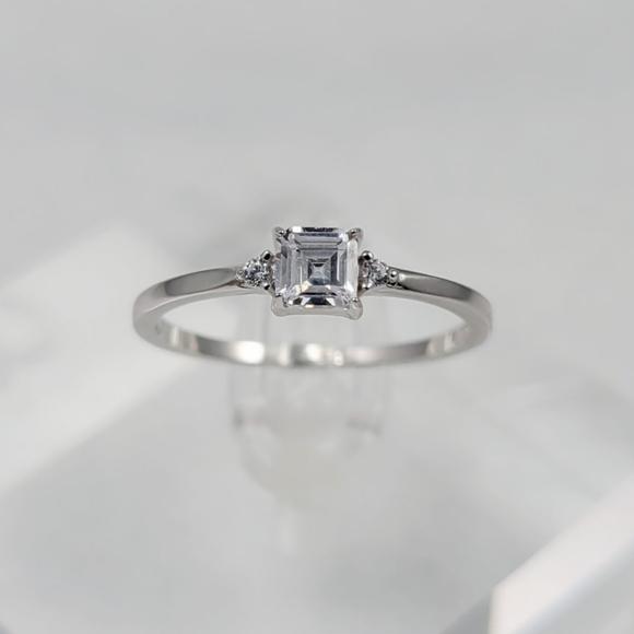 Sterling Silver Dainty Princess Cut Ring